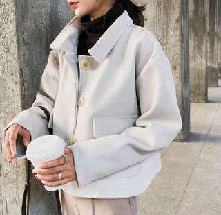 🚚 S5495韓版時尚休閒雙面呢短款毛呢外套(3色)