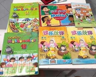 Primary 1 textbooks (mix)