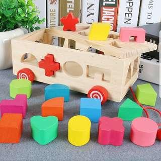 Wooden Rainbow Shape Sorter Puzzles Pull Along Car Bus Vehicles Educational Montessori Learning Building Blocks Toy