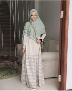 Gamis Hijab kayunie ld90-105  f pjg140 142, pinggang karet