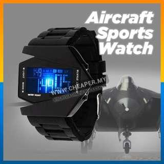 Unisex LED Watches Silicone Rubber Quartz Watches Clock Aircraft Sports Watch