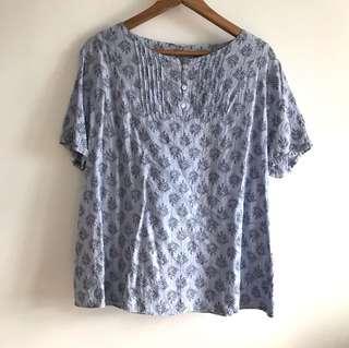 XL Patch Sweet Light Blue Printed Round Neck Short Sleeve Loose Fit Blouse Top @sunwalker