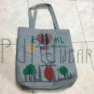 tas tote abu-abu malaysia no brand PUPUwear