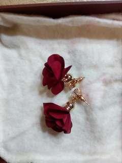 Glam red maroon earings