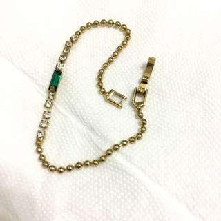 不會褪色的古董手鍊 祖母綠 墨綠色配鑽 復古手鍊