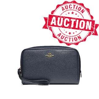 "Auction ""Like"" & ""Bid"" Authentic Brand New Coach Boxy 20cm Cosmetic Pouch Midnight Blue From USA Seggusted Retail: $265"
