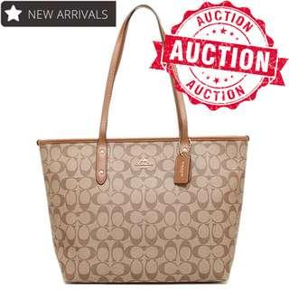 "Auction ""Like"" & ""Bid"" Authentic Brand New Coach City Tote In Signature Khaki From USA Seggusted Retail: $615"