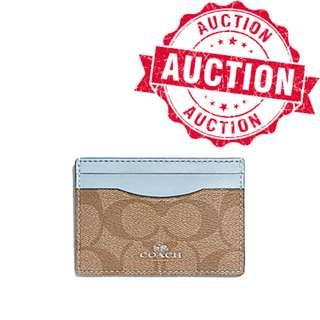 "Auction ""Like"" & ""Bid"" Authentic Brand New Coach Flat Card Case In Signature Coated Canvas Pool Blue From USA Seggusted Retail: $155"