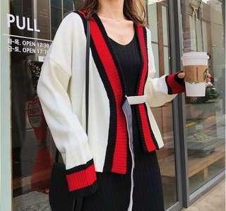 🚚 5523韓版時尚慵懶風針織短款開衫毛衣