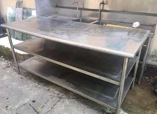 Kitchen stainless steel table. With two shelves.