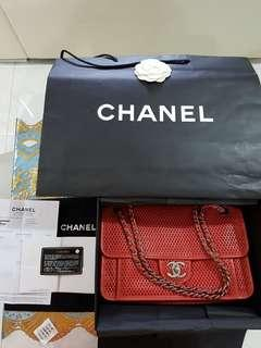 Authentic Orange Red Sac Rabat Chanel Handbag