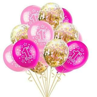 """*FREE DELIVERY to WM only / Pre order +-10-14 days*   12"""" 15pcs 1 year old confetti mixed balloon   each set as shown design / color.  Free delivery is applied for this item."""