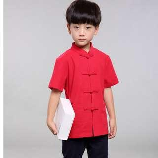 🚚 TZ012 New Toddler Boys Red  Top CNY Tangzhuang Traditional Shirt