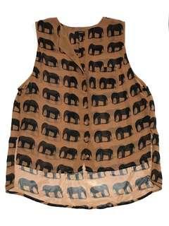 FOREVER 21 Sleeveless Elephant Print Top Brown / Black (US Medium)