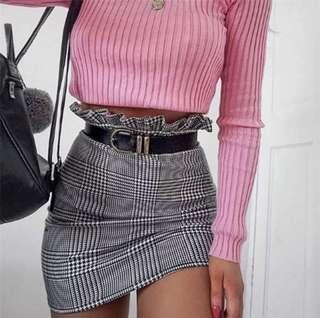 Frilly checkered high waist skirt