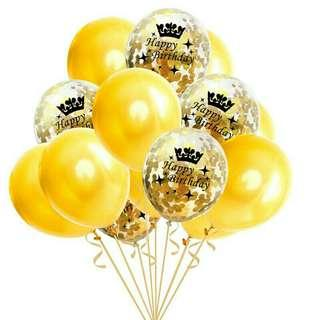 """*FREE DELIVERY to WM only / Pre order +-10-14 days*   12"""" 15pcs confetti mixed Happy Birthday balloon each set as shown design / color.  Free delivery is applied for this item."""