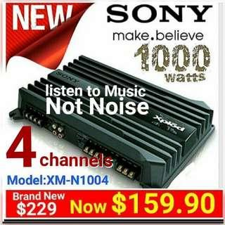 Sony 4 channels  Amplifier for Car/hobbyist. /(1000watts Power Max)  4/3/2 channels Bridgeable. Listen to Music, Not Noise in your car. Without an Amp, any increase in volume becomes Noise in a vehicle.  (Model: XM-N1004)