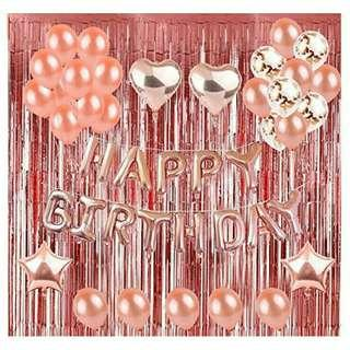 *FREE DELIVERY to WM only / Pre order +-10-14 days*   Rose gold birthday party decoration ex; balloon, tassel each set as shown design / color.  Free delivery is applied for this item.