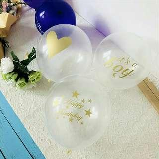 """*FREE DELIVERY to WM only / Pre order +-10-14 days*   12"""" 10pcs transparent balloon  each set as shown design happy birthday, love, its a girl, its a boy / color.  Free delivery is applied for this item."""