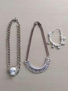 2 Necklaces and bracelet