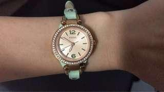 Fossil light green leather strap watch