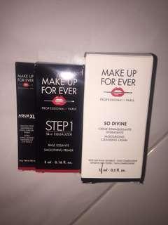 Makeup Forever Deluxe Samples Aqua XL Eyeliner, Smoothing Primer, So Divine Cleansing Cream