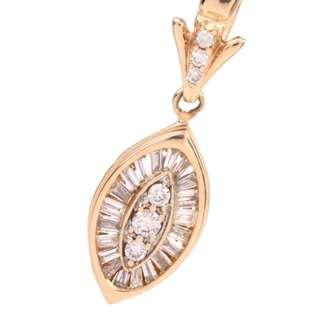 Beautiful Estate Diamond 14K Yellow Gold Marquise Pendant ( VGC)