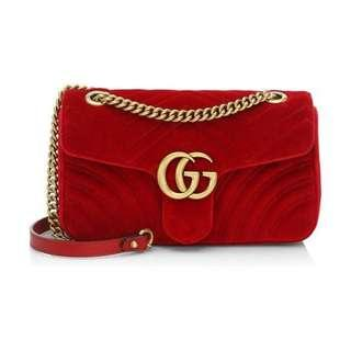 Gucci marmont velvet red
