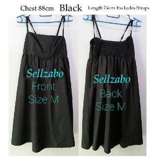 #S218 Size M Dress Spaghetti Straps Short Sleeves Knee Length Sellzabo Ladies Girls Women Female Lady Dresses Design Style Dinner Function Party Plain Black Colour