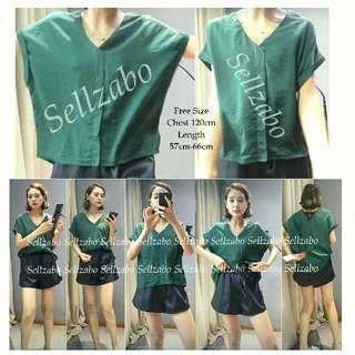 #S198 Top Size M Short Sleeves Criss Cross Plain Blouse Shirts Sellzabo Ladies Girls Women Female Lady Cooling Design Dark Green Colour
