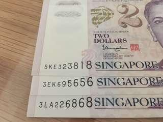 Brand new nice twin number repeat SGD notes