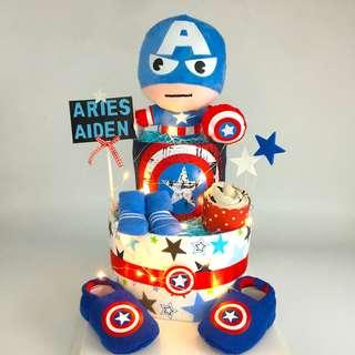 Cpt America Diapers Cake - 2-tier with Led lighting