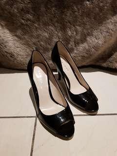 Basque Black Patent Heels