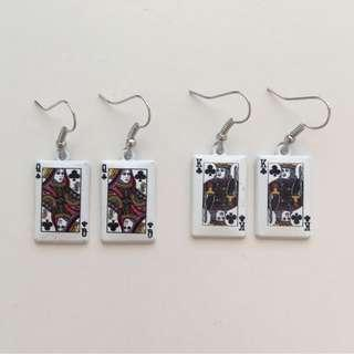 KING AND/OR QUEEN CARD EARRINGS