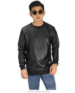 Sweatshirt Quilted Leather Black