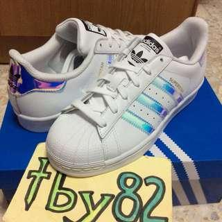 (In stocks) Adidas Superstar J White Iridescent holograph