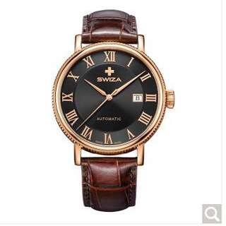 SWIZA 瑞莎手錶 男士手錶 瑞士經典復古全自動機械腕表 灰盤棕色皮帶 WAT.0156.1401 高貴典雅 時尚紳士 瑞士自動機械機芯
