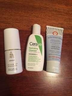 Alpha H Liquid Gold, CeraVe Hydrating Cleanser, First Aid Beauty Ultra Repair Cream
