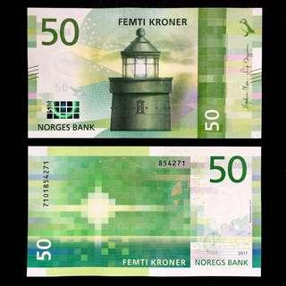 2018 NORWAY 50 KRONER P-NEW UNC > UTVAER LIGHTHOUSE SWEEP OF A LIGHT