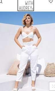 Crop and pants white linen set xs