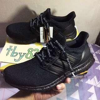Limited Edition Adidas Mens Ultra Boost Premium Leather 3.0 Triple BlackOut Self Custom