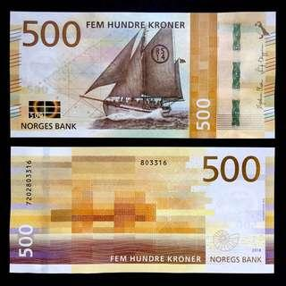 2018 NORWAY 500 KRONER P-NEW UNC > RESCUE CUTTER PS14 STAVANGER WIND AND SEA