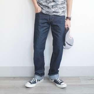 32腰 Edwin 505 愛德恩 Vintage 復刻款 奢華赤耳布邊 丹寧原色 經典直筒 牛仔褲 二手 長褲