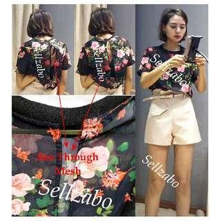 #S192 Top Size L Short Sleeves Flowers Flora Tee T-Shirts Blouse Shirts Sellzabo Ladies Girls Women Female Lady Design Black Translucent Colour Chiffon