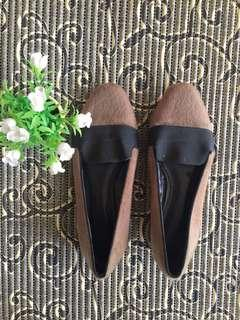 Charles and Keith furry flat shoes