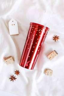 Starbucks stainless steel red Christmas straw cup