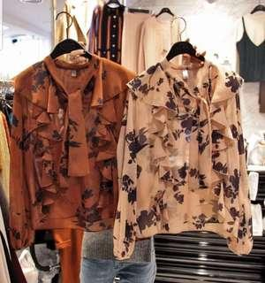 Brand New Korea Imported Floral Top (Light Brown)