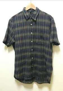 🚚 🔥古著 格子 格紋 短袖 襯衫 上衣 休閒 百搭 稀有 老品 復古 Vintage
