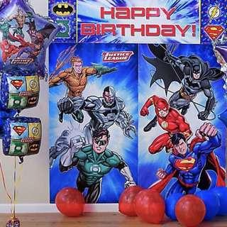 Licensed Superheroes Justice League party supplies - scene setter / party deco / party banner