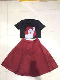 Crop Top & Red Skirt (FREEONGKIR)